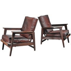 Pair of Reclining Armchairs with Dark Brown Seats, France