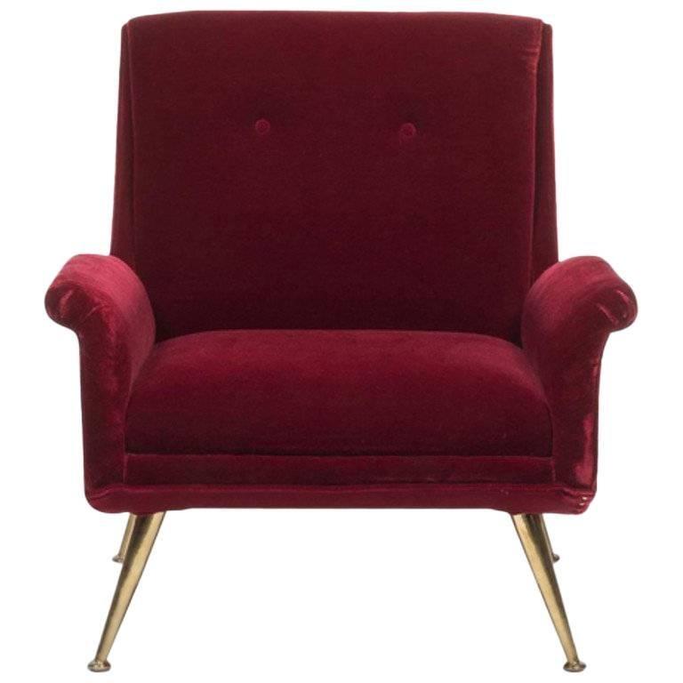 Vintage Midcentury Italian Mohair Lounge Chair