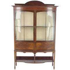 Antique China Cabinet, Inlaid Walnut, Bow Front Cabinet, Scotland, 1910
