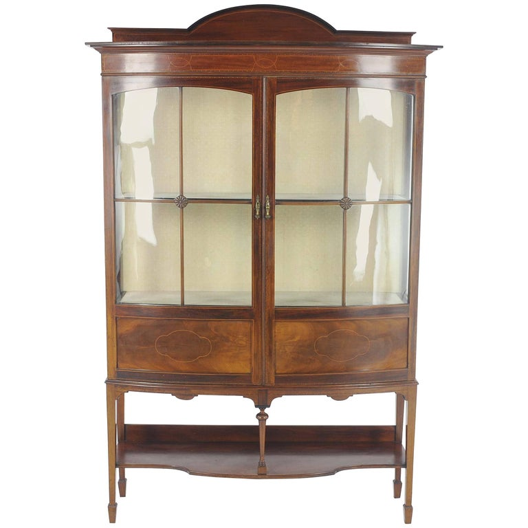 Antique China Cabinet, Inlaid Mahogany, Bow Front Cabinet, Scotland, 1910  For Sale - Antique China Cabinet, Inlaid Mahogany, Bow Front Cabinet, Scotland