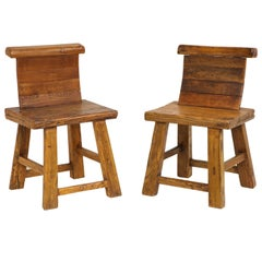 Pair of Primitive Rustic Side Chairs