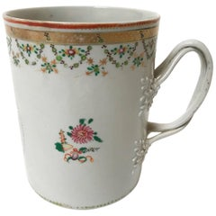 18th Century Exceptionally Large Chinese Export Tankard with Twist Strap Handle