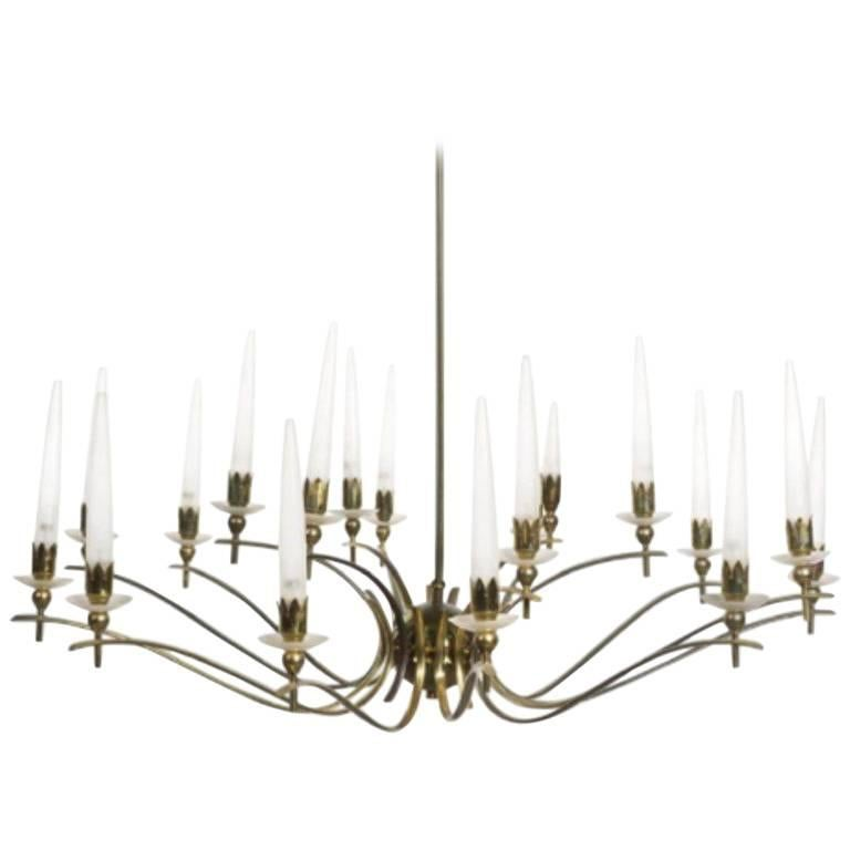 Vintage Angelo Lelli style Midcentury Italian Brass Eighteen-Arm Chandelier