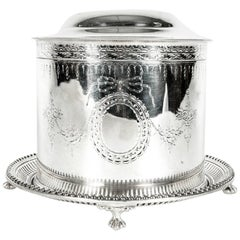 English Silver Plate Covered Biscuit Box/Tea Caddy