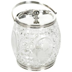 Old English Cut Crystal / Silver Plate Ice Bucket