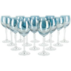 Late 20th Century Iridescent Blue Crystal Glassware Set