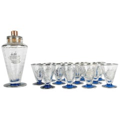 Antique Martini / Cocktail Shaker Set with Sterling Inlaid Ship Design