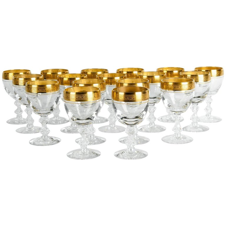 Vintage Cut Crystal with Gold Design Top Wine/Water Glassware Set