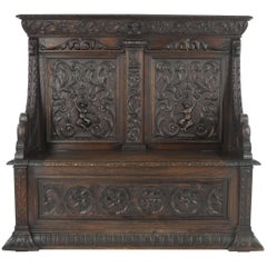 Antique Hall Bench, Carved Oak Settle, Lift Up Seat, a Gardner of Glasgow