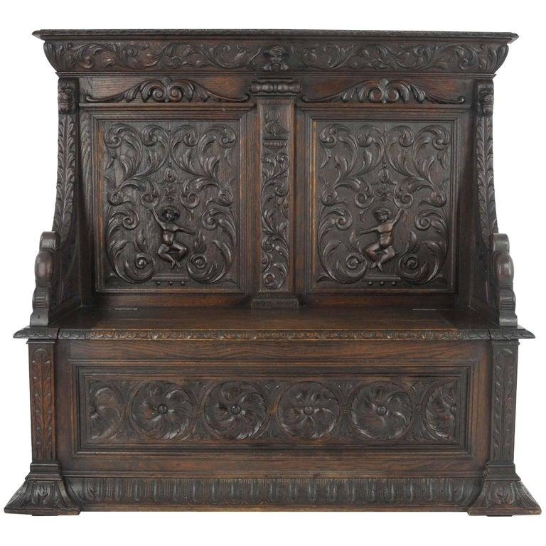 Antique Hall Bench, Carved Oak Settle, Lift Up Seat, a Gardner of Glasgow