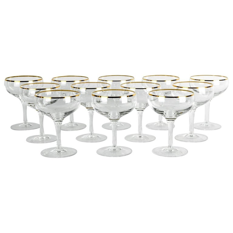Vintage Crystal Champagne Coupe Glassware Set 12 Pieces .