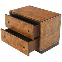 John Stuart Burl Wood Brass Round Pulls Two Drawers Stand