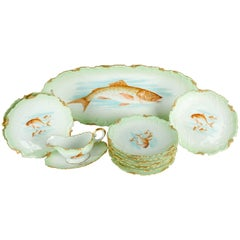 Antique Limoges 13-Pieces Fish Set