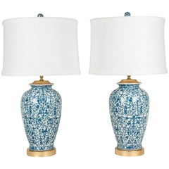 Pair of Porcelain with Wooden Base Gold-Plated Task Table Lamps