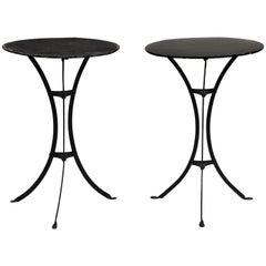 Pair of Three Legged Round Black Metal Side Tables