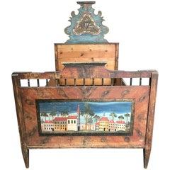 Antique European Painted Children's Bed