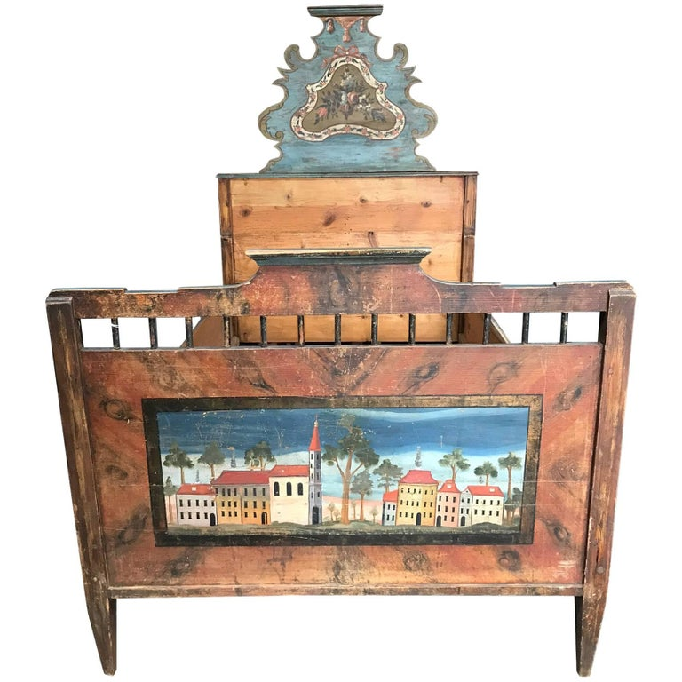 Antique European Painted Children's Bed For Sale