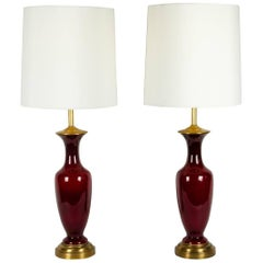 Vintage Pair of Art Glass with Brass Base Table / Task Lamps