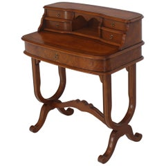 Italian Small Burl Wood Ladies Desk with Chair