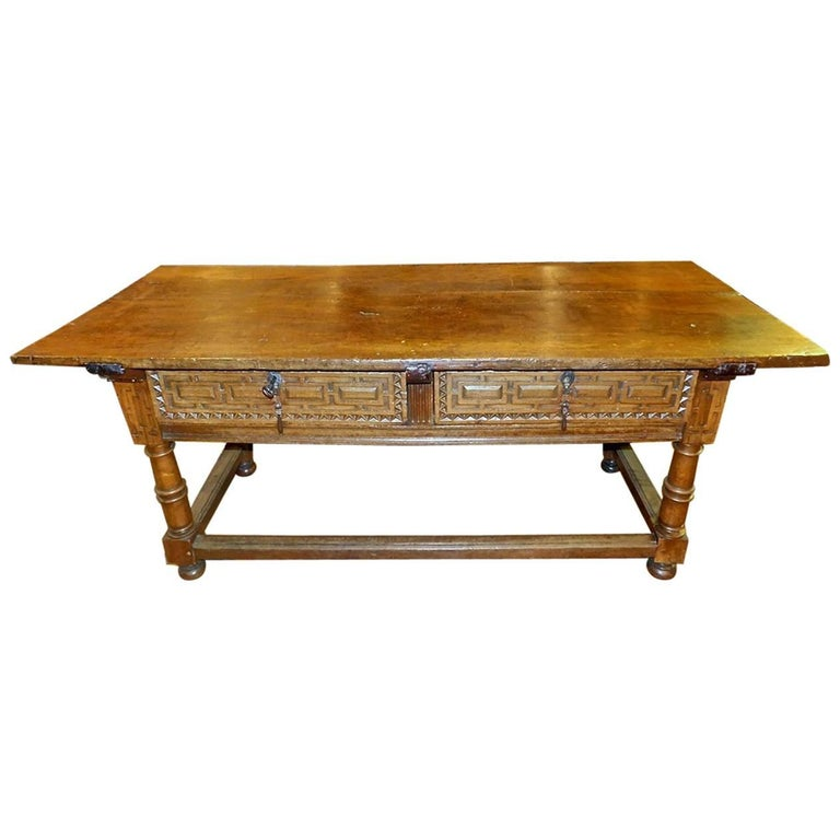Early to Mid 17th Century Two-Drawer Spanish Library Table, Walnut and Chestnut For Sale