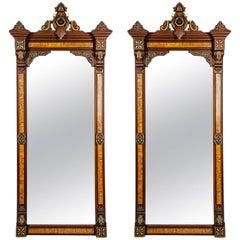 Antique Pair of Victorian Burlwood or Walnut Pier Mirrors