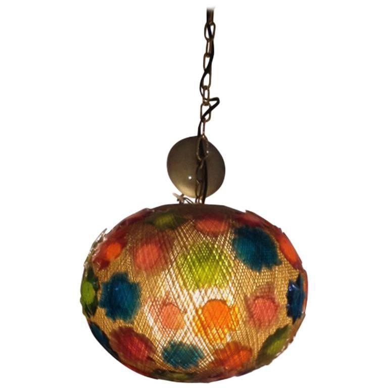 Vintage Midcentury Acrylic Globe Hanging Light