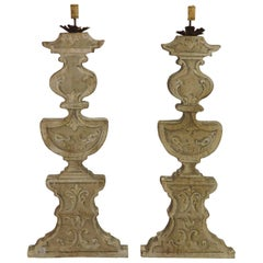 Pair of 20th Century Painted Candlesticks
