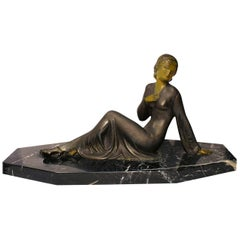 1930s Art Deco Female Spelter French Figure on Solid Marble Base