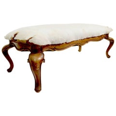 Carved Wood Bench with Cabriole Legs