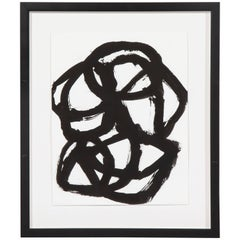 Framed Tim Forcum Ink on Paper Black Abstract