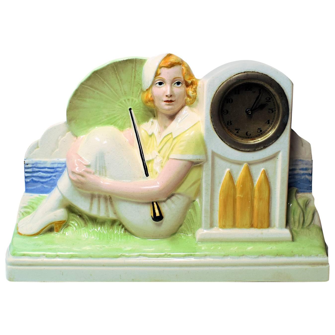 1930s Art Deco Figurative Mantle Ceramic Clock