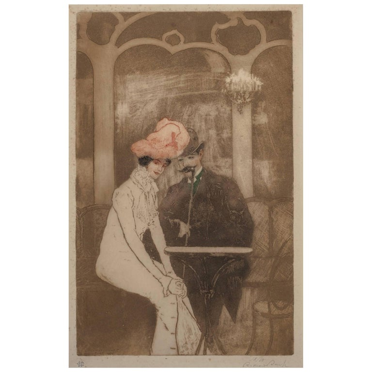 Richard Ranft Art Nouveau Aux Folies Bergere Etching, 1900