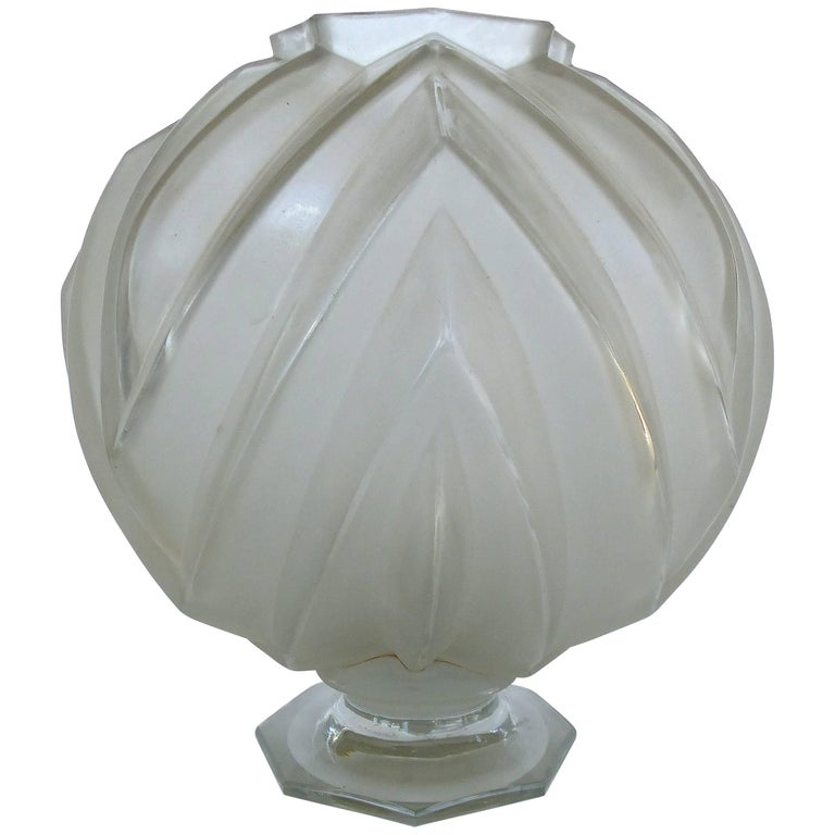 French Art Deco Sabino Glass Vase For Sale