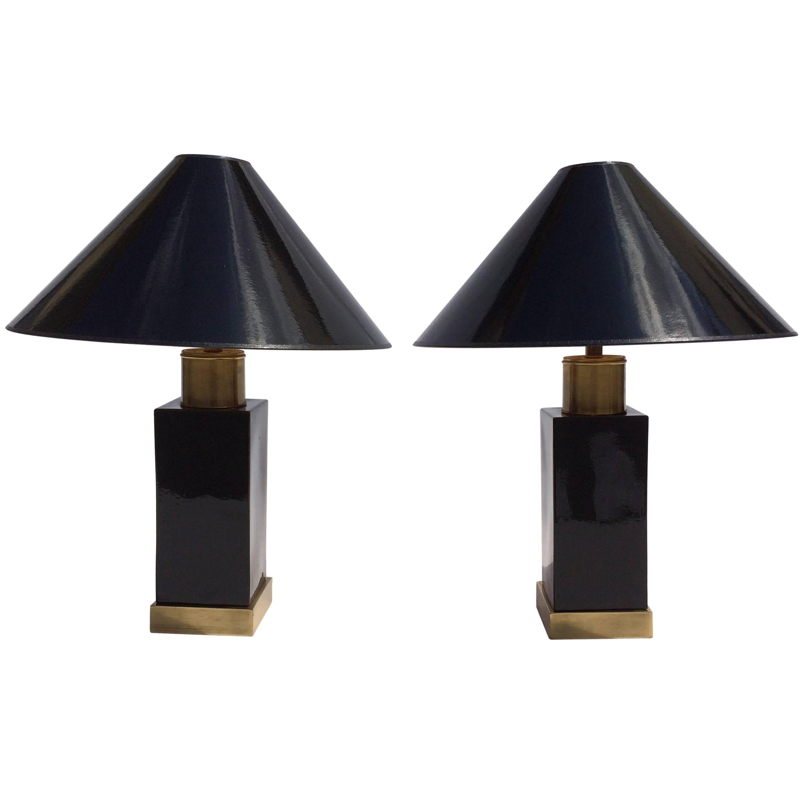 Brass and Black Ceramic Table Lamps