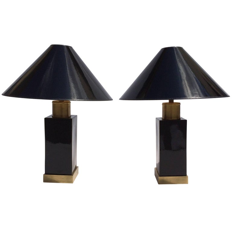 Brass and Black Ceramic Table Lamps For Sale