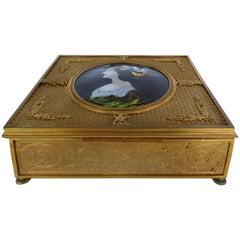 19th Century European Gilt Bronze Dresser Box with Enamel Plaque
