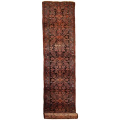 Handmade Antique Distressed Persian Hamadan Runner, 1900s