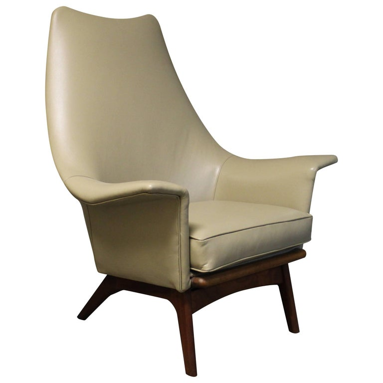 Adrian Pearsall Leather Wingback Lounge Chair with Sculptural Walnut Base