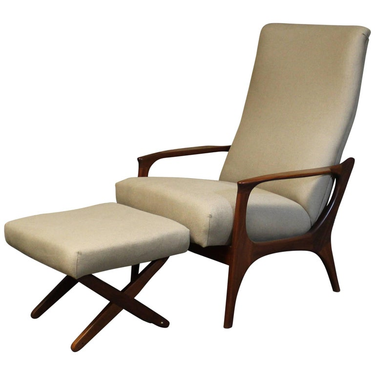 R. Huber Teak Reclining Lounge Chair with Ottoman For Sale