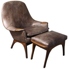 Gerhard Berg Leather and Teak Lounge Chair and Ottoman