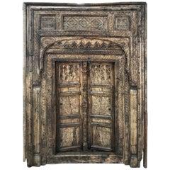 Antique Nuristan Afghani Hand-Carved Wood Doorway, 1800