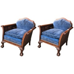 Two Blue Carved Neoclassical Wood Cane Armchairs