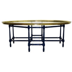 Baker Bamboo and Gilded Oval Glass Tray Cocktail Table