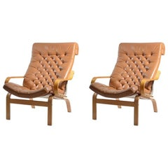 Rare 1970s Noboru Nakamura Bore Armchairs for Ikea in Leather and Linen