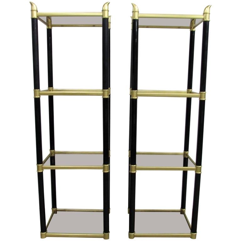 Chinoiserie Metal Black and Gold Étagerés, Pair