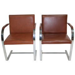 Brueton Leather 'Brno' Arm Chairs Flat Bar, 1960s