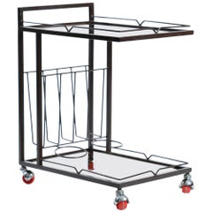 1970s Serving Trolley in Metal and Smoked Glass, Czechoslovakia