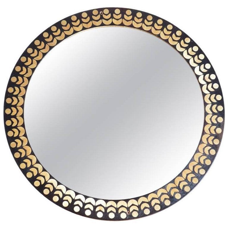 Midcentury Round Wall Mirror with Inlay Wood Frame, Czechslovakia, 1970s
