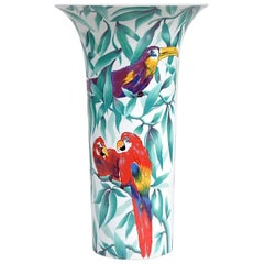 Oversized AK Kaiser Porcelain Vase with Parrots in Jungle, 1970s, Germany