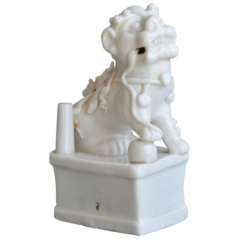 Moulded Miniature Blanc de Chine Porcelain Figurine of a Foo Lion Kangxi